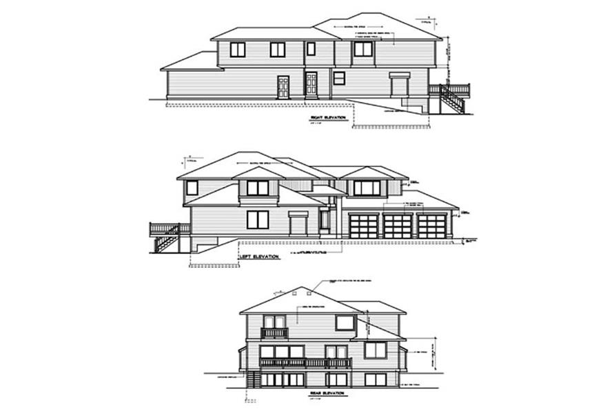 Home Plan Rear Elevation of this 4-Bedroom,3408 Sq Ft Plan -119-1201