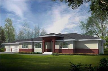 4-Bedroom, 4453 Sq Ft Contemporary Home Plan - 119-1215 - Main Exterior