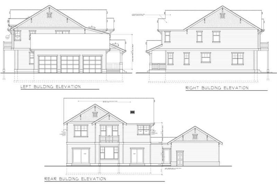 Home Plan Rear Elevation of this 5-Bedroom,3505 Sq Ft Plan -119-1221