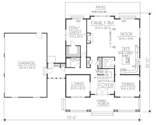 House Plan DDI 106-222 Main Floor Plan