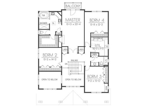 House Plan DDI 106-222 Second Floor Plan