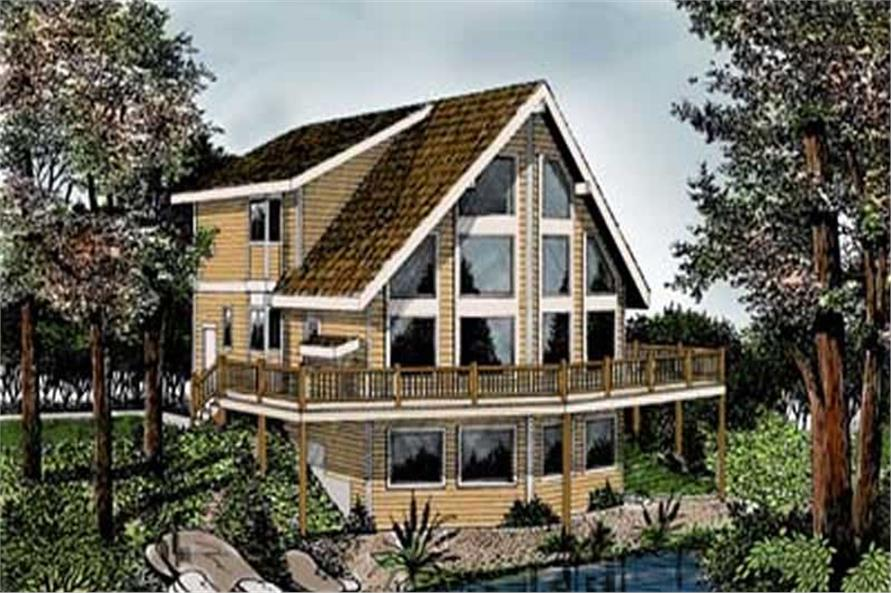 3-Bedroom, 1995 Sq Ft Log Cabin Home Plan - 119-1224 - Main Exterior