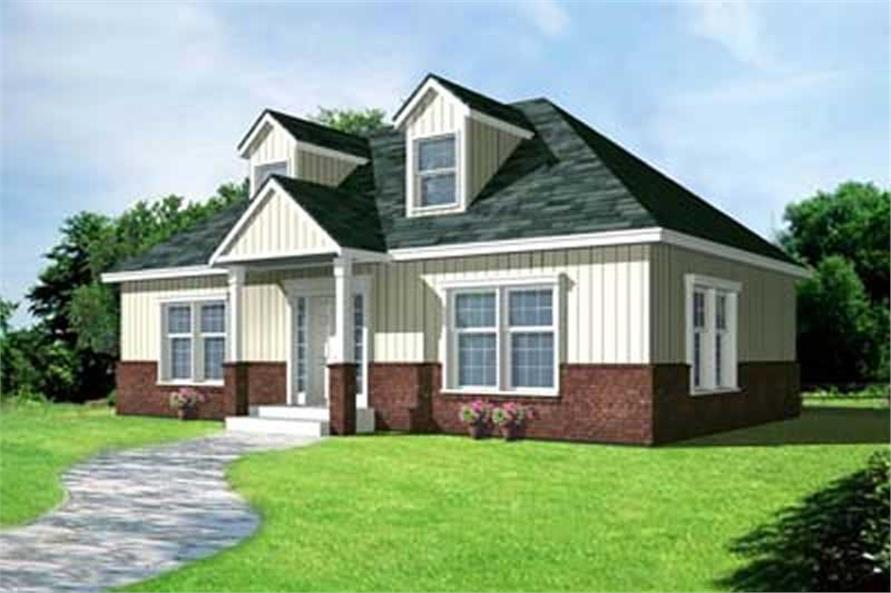 2-Bedroom, 1000 Sq Ft Ranch Home Plan - 119-1234 - Main Exterior