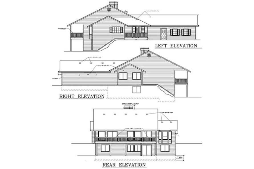Home Plan Rear Elevation of this 2-Bedroom,1782 Sq Ft Plan -119-1238