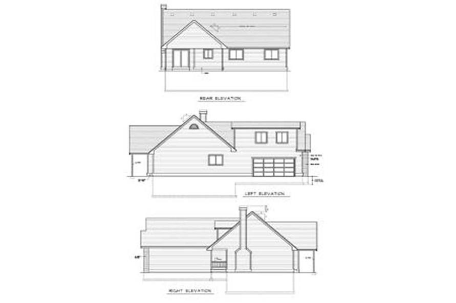 Home Plan Rear Elevation of this 3-Bedroom,1492 Sq Ft Plan -119-1241