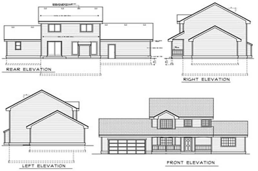 Home Plan Rear Elevation of this 4-Bedroom,1727 Sq Ft Plan -119-1245