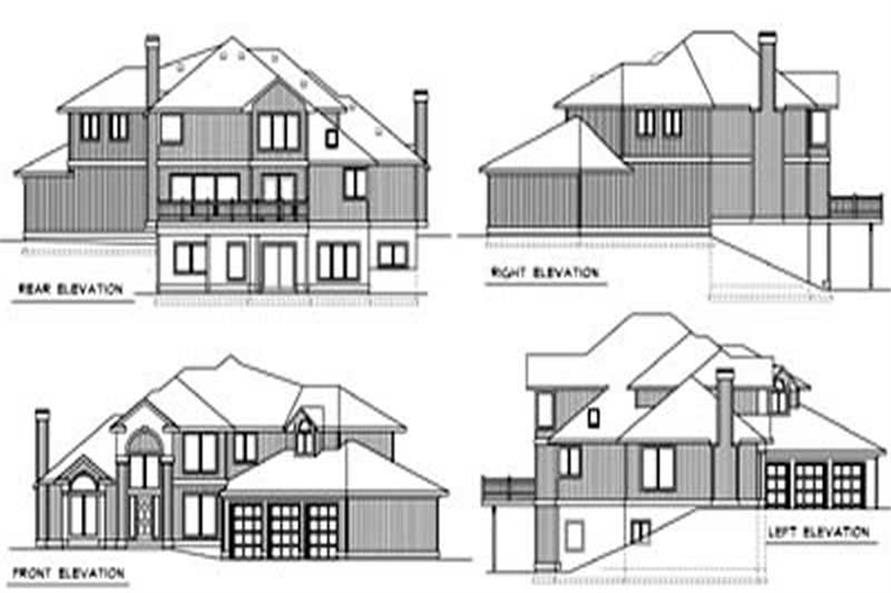 Home Plan Rear Elevation of this 3-Bedroom,2832 Sq Ft Plan -119-1250