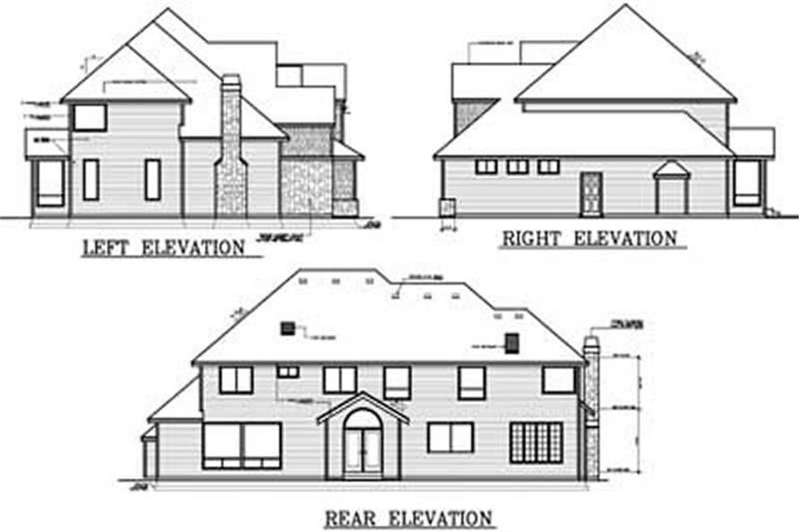 Home Plan Rear Elevation of this 4-Bedroom,3514 Sq Ft Plan -119-1251
