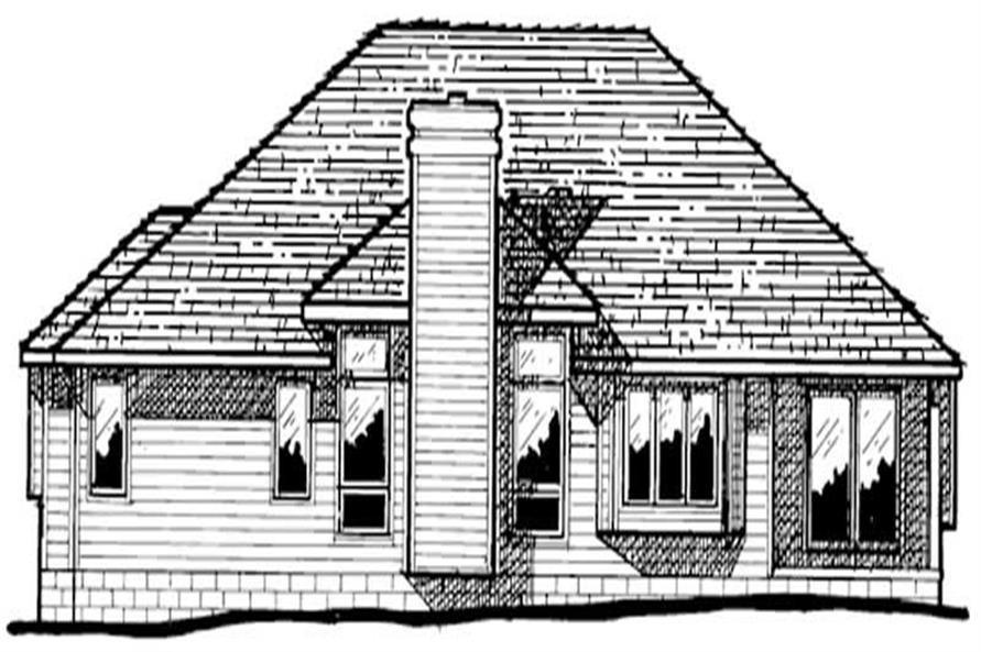 Home Plan Rear Elevation of this 3-Bedroom,1666 Sq Ft Plan -120-1002