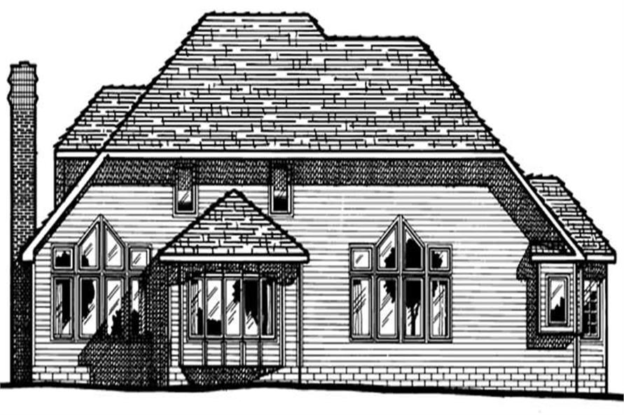 Home Plan Rear Elevation of this 4-Bedroom,2979 Sq Ft Plan -120-1007