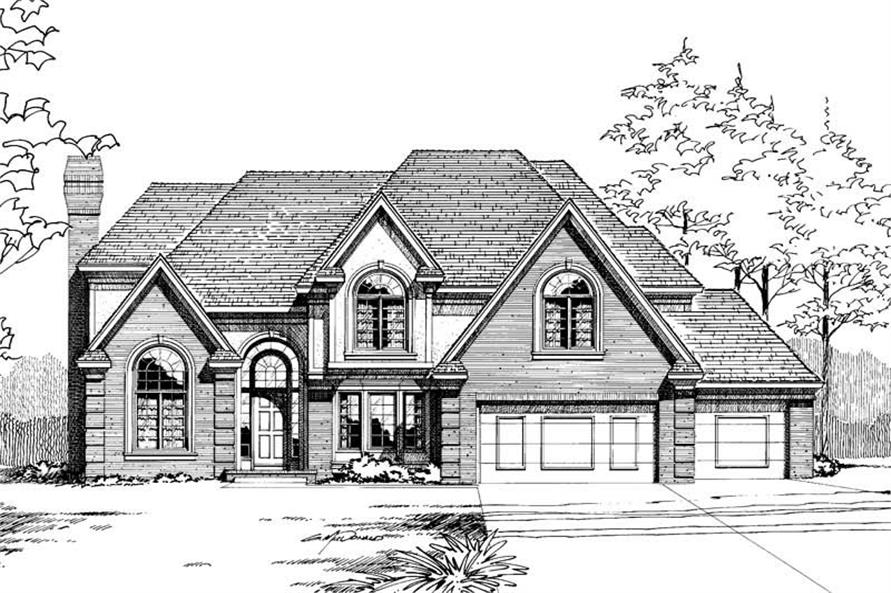 5-Bedroom, 3080 Sq Ft Traditional House Plan - 120-1013 - Front Exterior