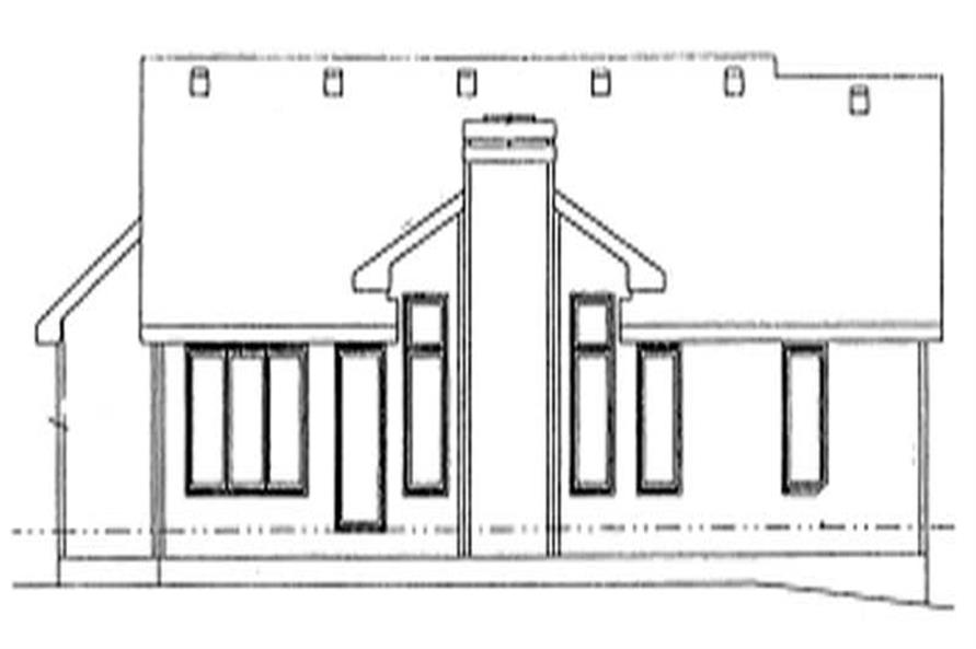 Home Plan Rear Elevation of this 3-Bedroom,1360 Sq Ft Plan -120-1029