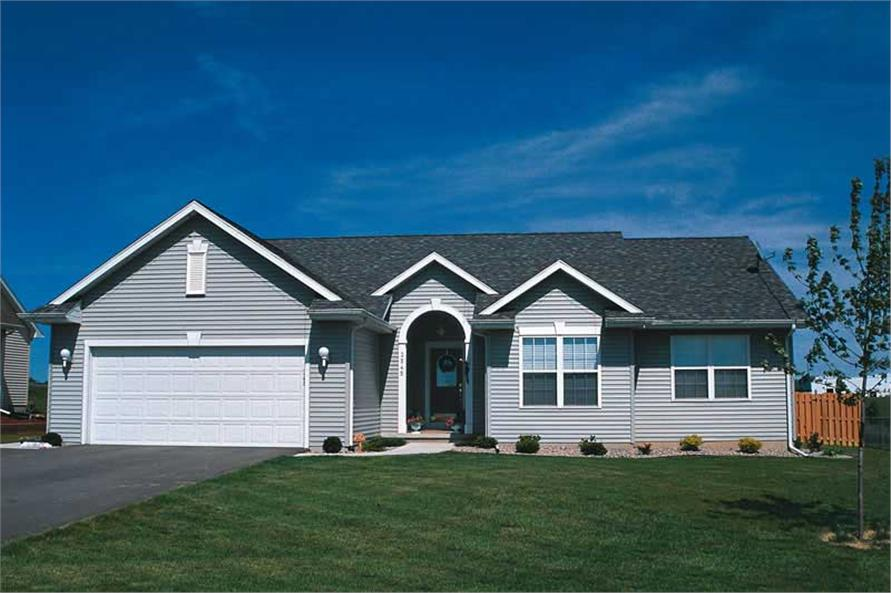 3-Bedroom, 1360 Sq Ft Small House Plans - 120-1029 - Front Exterior