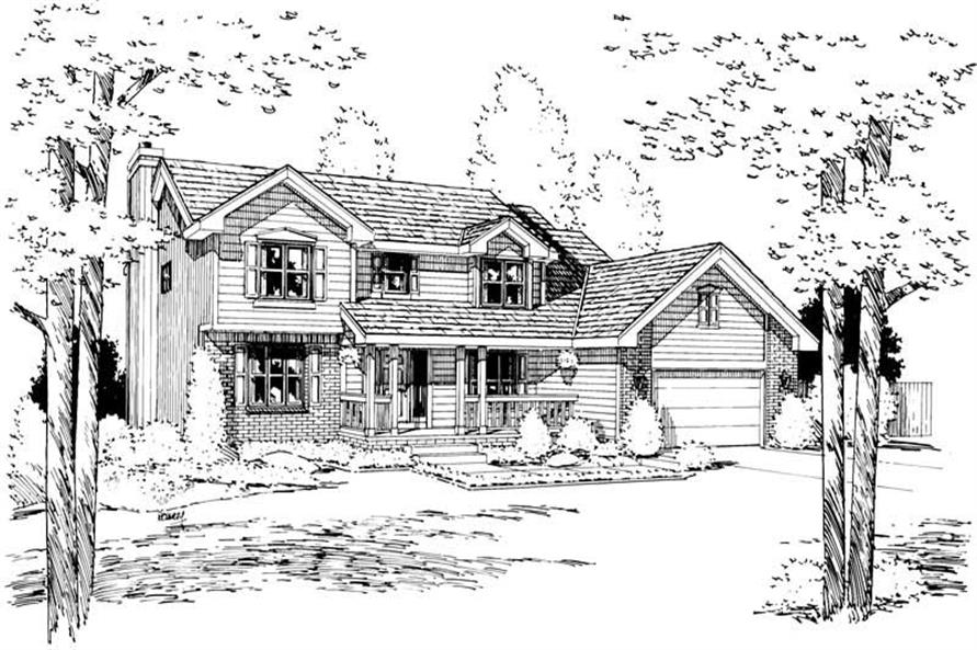 4-Bedroom, 2550 Sq Ft Country House Plan - 120-1037 - Front Exterior