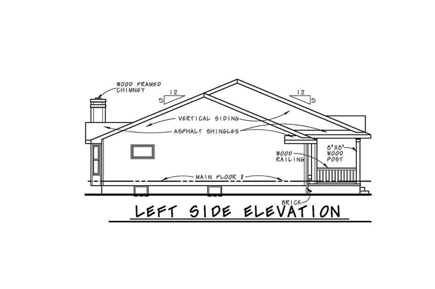 Home Plan Left Elevation of this 3-Bedroom,2042 Sq Ft Plan -120-1041