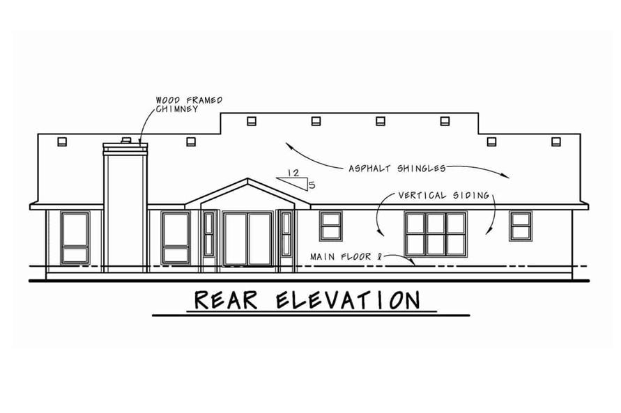 Home Plan Rear Elevation of this 3-Bedroom,2042 Sq Ft Plan -120-1041