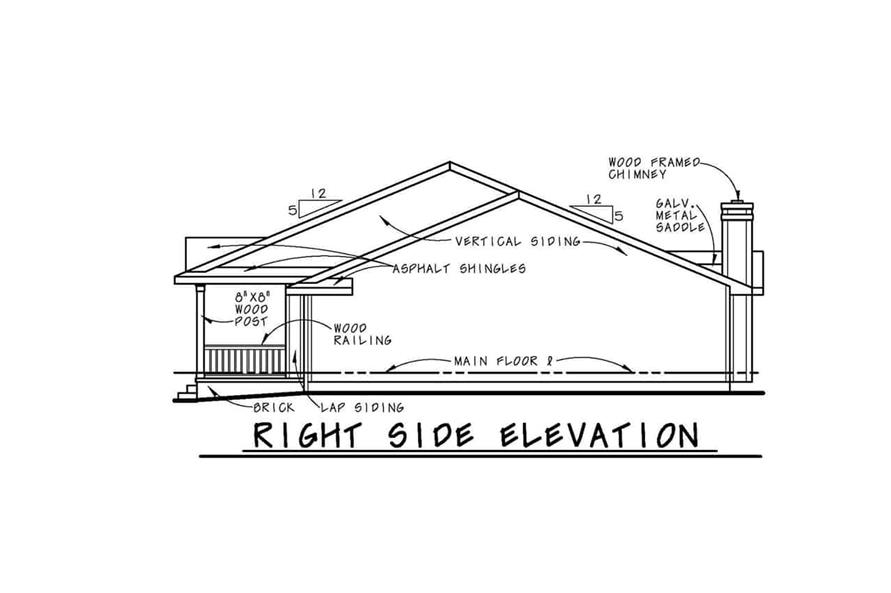 Home Plan Right Elevation of this 3-Bedroom,2042 Sq Ft Plan -120-1041