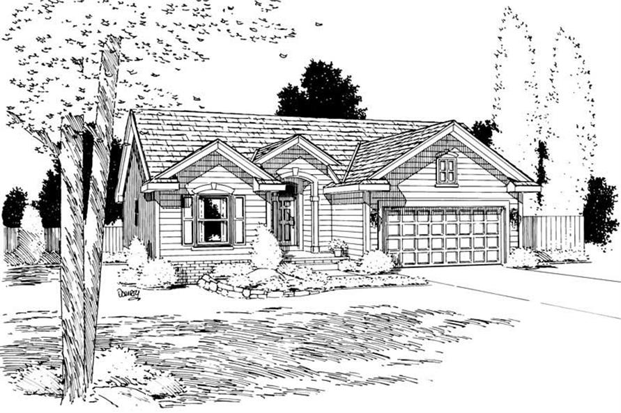 Home Plan Rendering of this 2-Bedroom,1212 Sq Ft Plan -120-1045