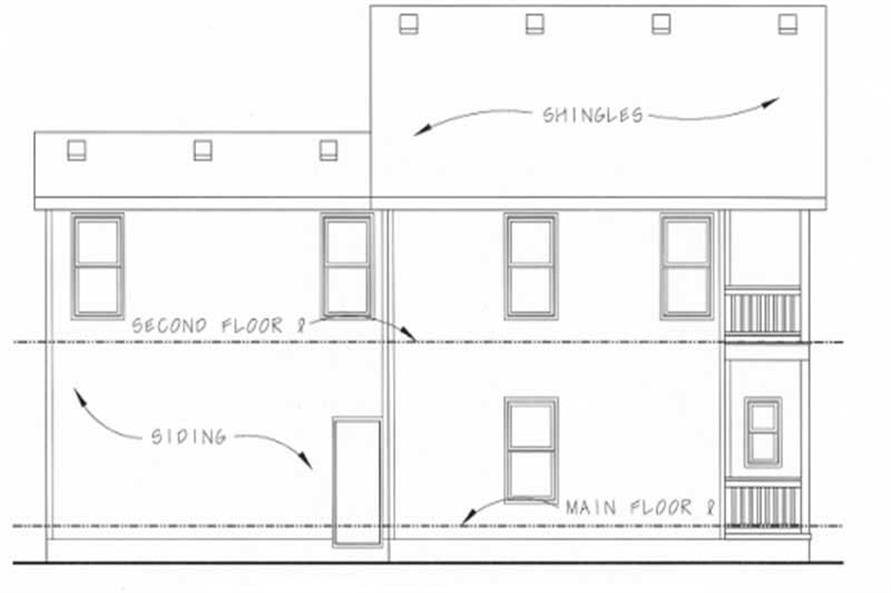 Home Plan Rear Elevation of this 2-Bedroom,1400 Sq Ft Plan -120-1046