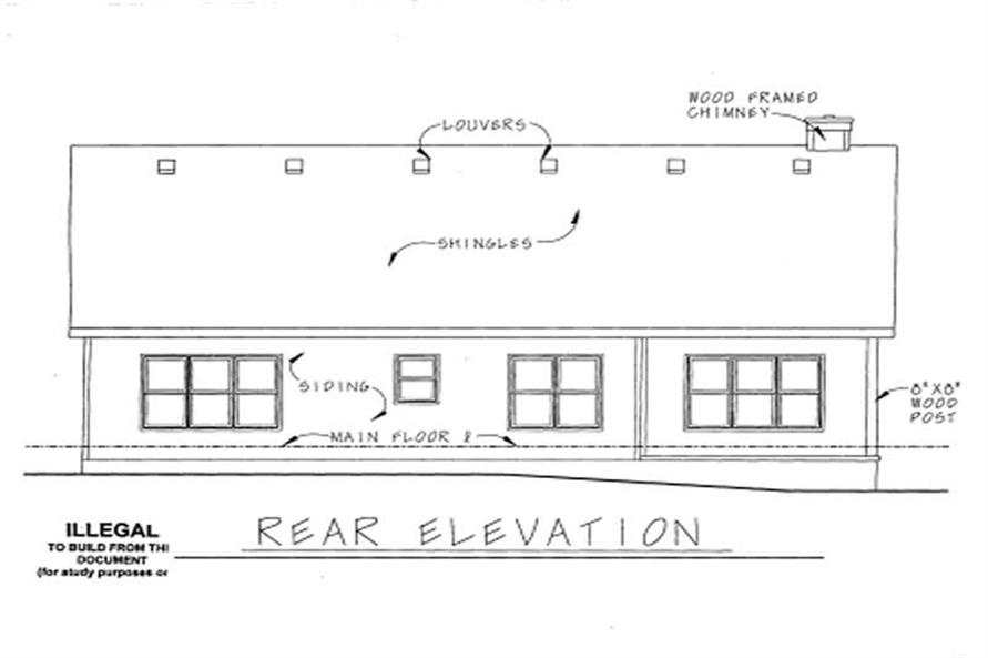 Home Plan Rear Elevation of this 3-Bedroom,1724 Sq Ft Plan -120-1049