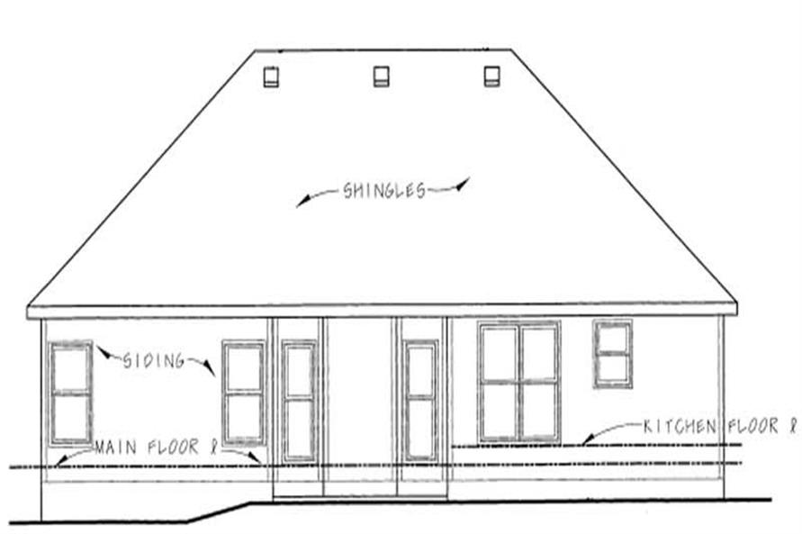 Home Plan Rear Elevation of this 3-Bedroom,1335 Sq Ft Plan -120-1054