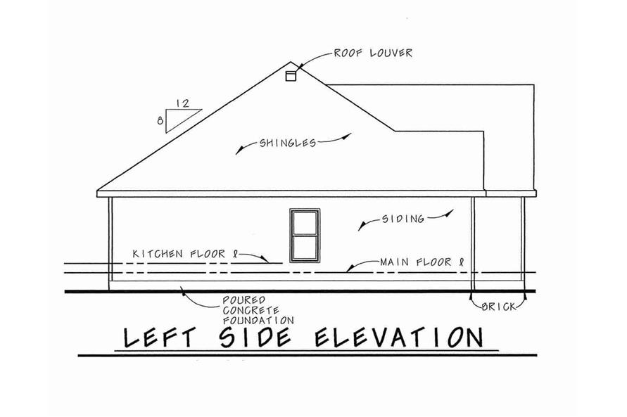 Home Plan Left Elevation of this 3-Bedroom,1335 Sq Ft Plan -120-1054
