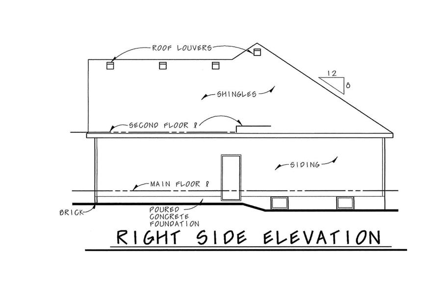 Home Plan Right Elevation of this 3-Bedroom,1335 Sq Ft Plan -120-1054