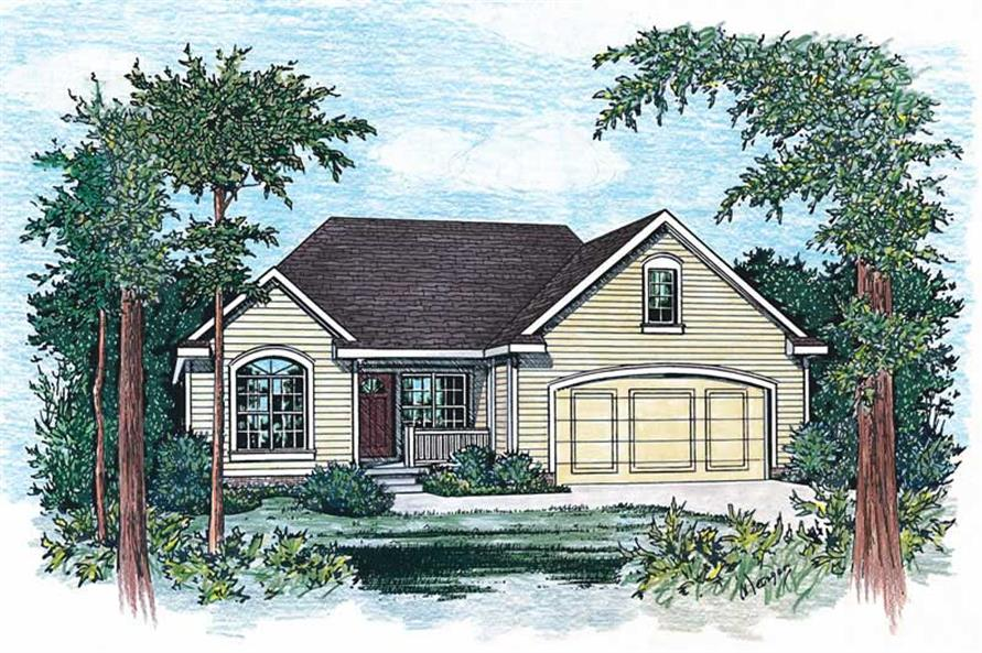 3-Bedroom, 1335 Sq Ft Small House Plans - 120-1054 - Front Exterior