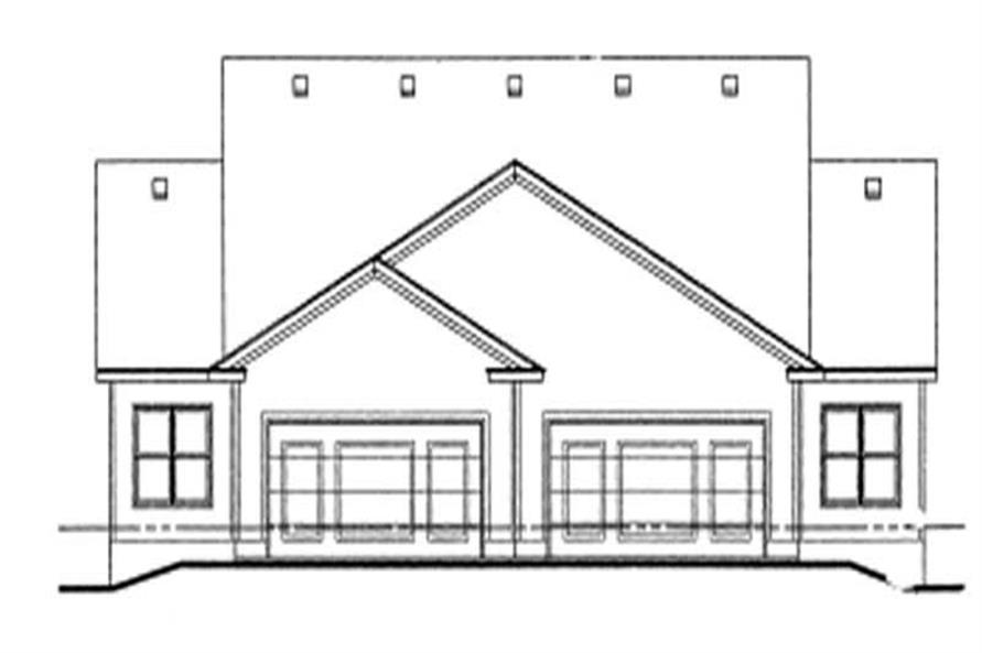 Home Plan Rear Elevation of this 2-Bedroom,1142 Sq Ft Plan -120-1055