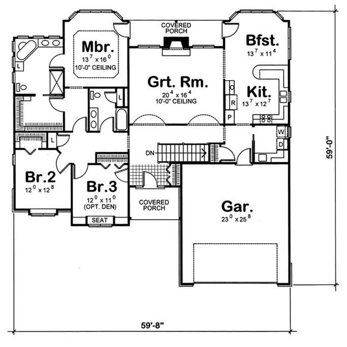 House Plan #120-1056 : 3 Bedroom, 2100 Sq Ft Ranch - Traditional Home on pet friendly house plans, modern house plans, 2 bedroom house plans, patio home 2 bedroom plans, 6 bedroom house plans, house house plans, duplex and triplex house plans, 20 bedroom house plans, blank building plans, eplans craftsman house plans, split bedroom country house plans, 3 bedroom house plans, square or rectangular house plans, upstairs kitchen home plans, 5 bedroom ranch house plans, oceanfront house plans, master bedroom first floor house plans, 4-bedroom country style house plans, castle mansion house plans, 10 bedroom mansion plans,