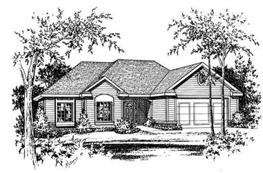 3-Bedroom, 2100 Sq Ft Ranch House Plan - 120-1056 - Front Exterior
