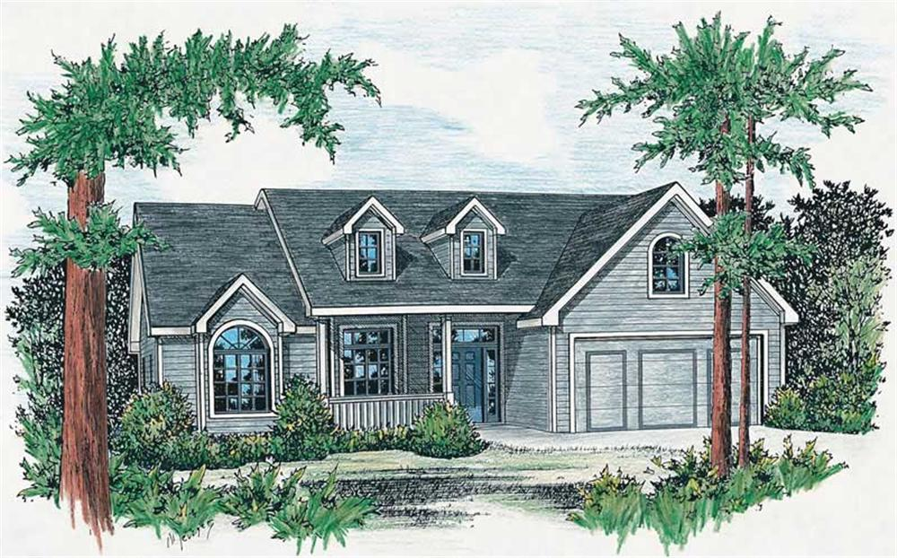 Front elevation of Country home (ThePlanCollection: House Plan #120-1057)