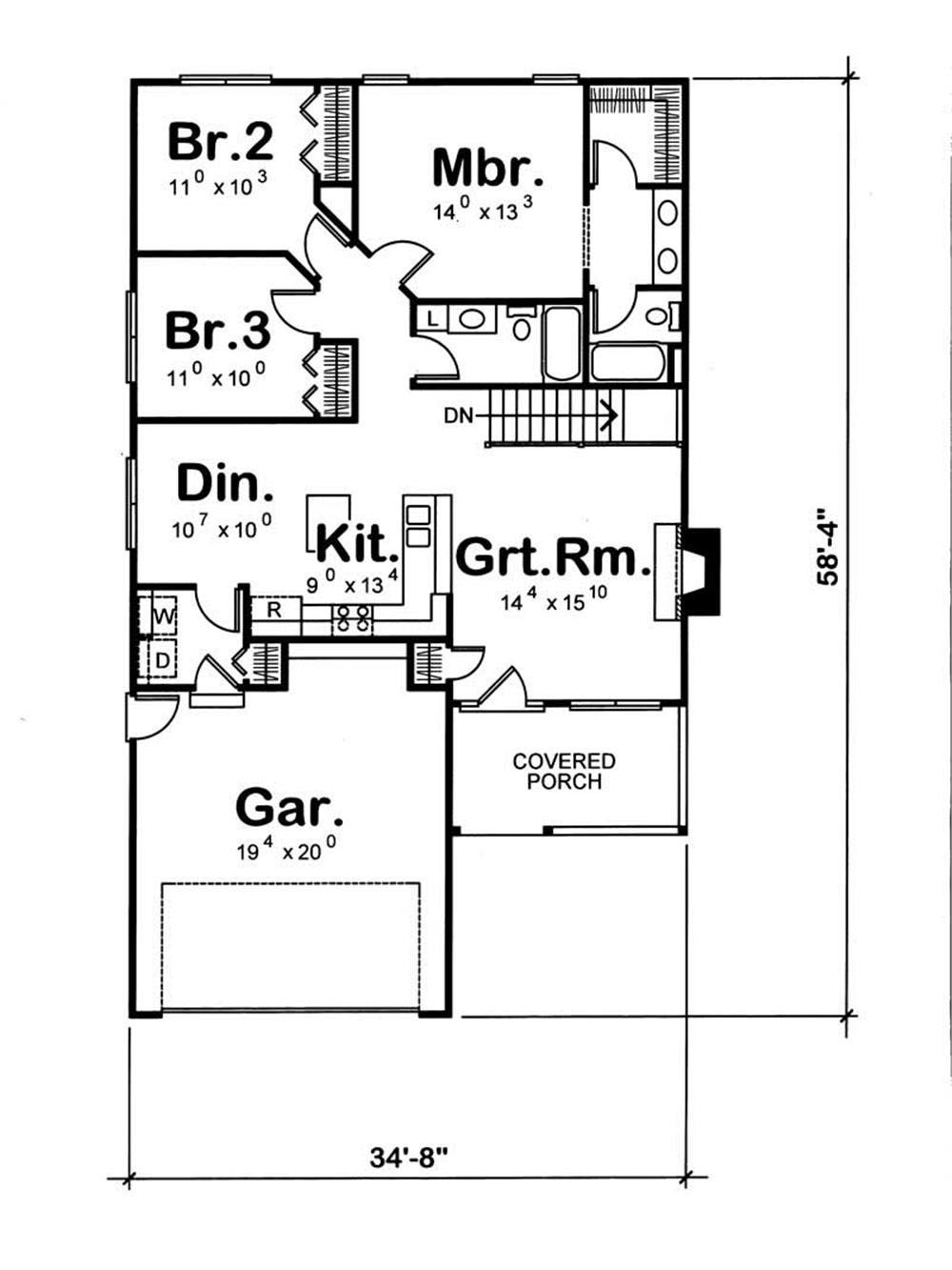House plan 120 1058 3 bedroom 1311 sq ft bungalow for Square house plans