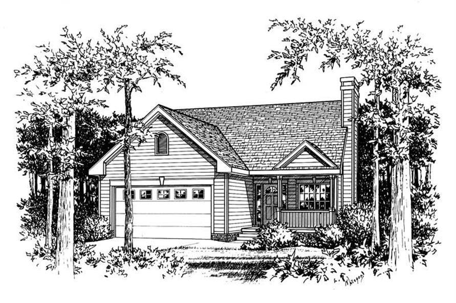 Front Elevation of this 3-Bedroom,1311 Sq Ft Plan -1311