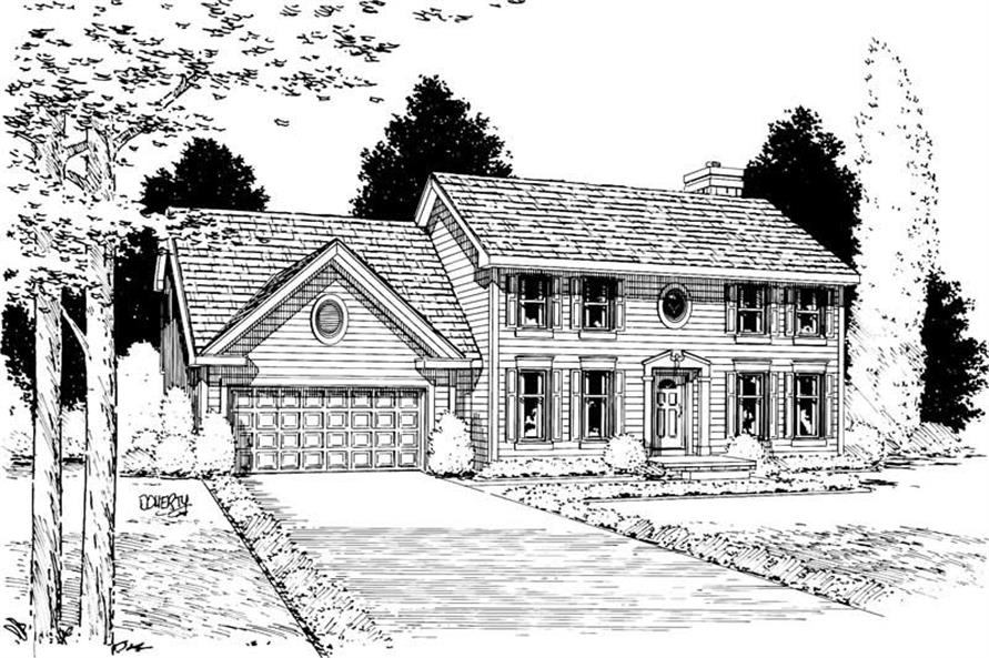 Front Elevation of this 4-Bedroom,2298 Sq Ft Plan -2298