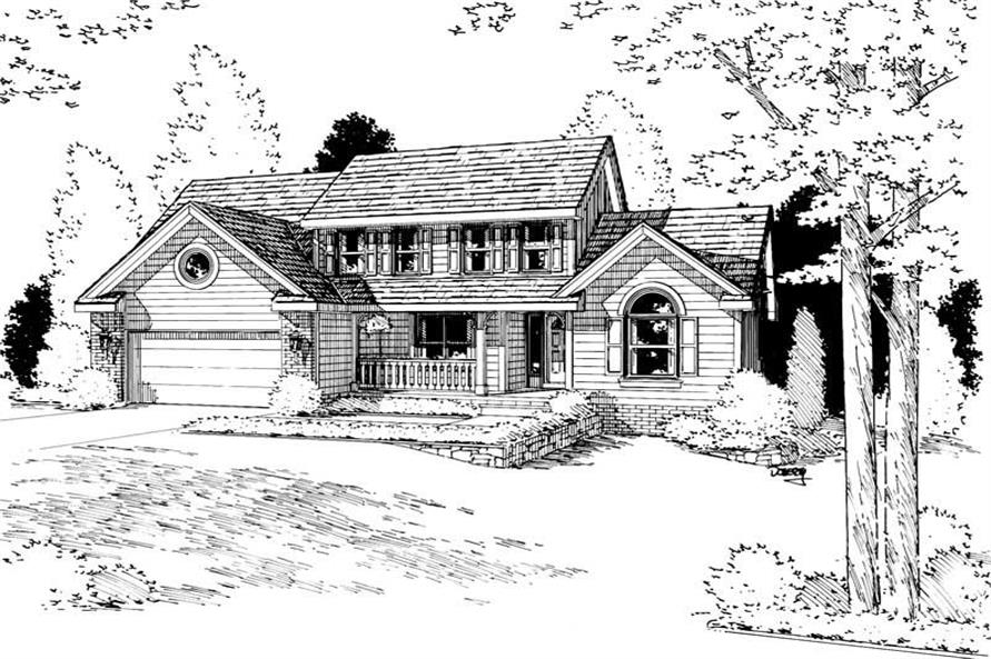 4-Bedroom, 2016 Sq Ft Country House Plan - 120-1067 - Front Exterior