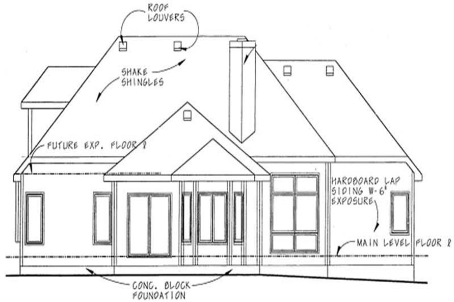 Home Plan Rear Elevation of this 3-Bedroom,1995 Sq Ft Plan -120-1084
