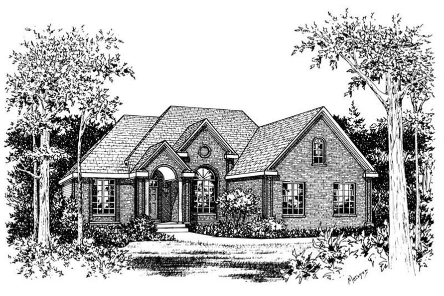 3-Bedroom, 1995 Sq Ft French House Plan - 120-1084 - Front Exterior