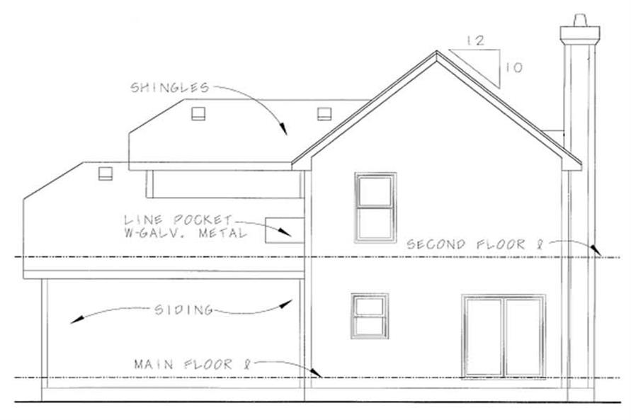 Home Plan Rear Elevation of this 3-Bedroom,1634 Sq Ft Plan -120-1088