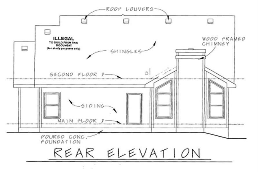 Home Plan Rear Elevation of this 4-Bedroom,2164 Sq Ft Plan -120-1089