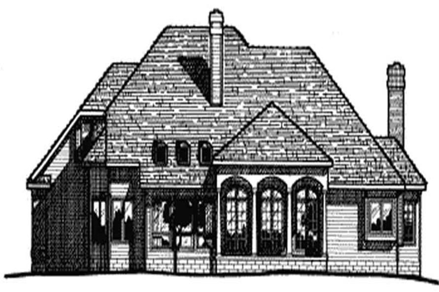 Home Plan Rear Elevation of this 4-Bedroom,2932 Sq Ft Plan -120-1100