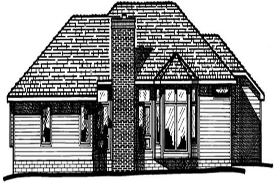 Home Plan Rear Elevation of this 3-Bedroom,1850 Sq Ft Plan -120-1101