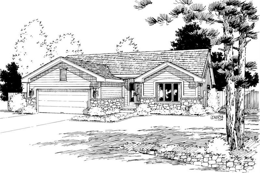 3-Bedroom, 1593 Sq Ft Small House Plans - 120-1111 - Front Exterior