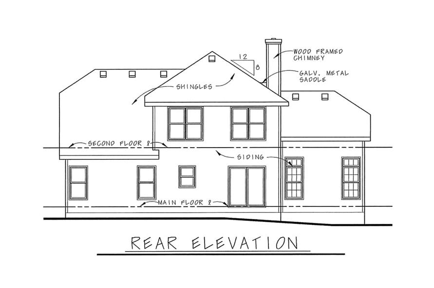 Home Plan Rear Elevation of this 3-Bedroom,1818 Sq Ft Plan -120-1120