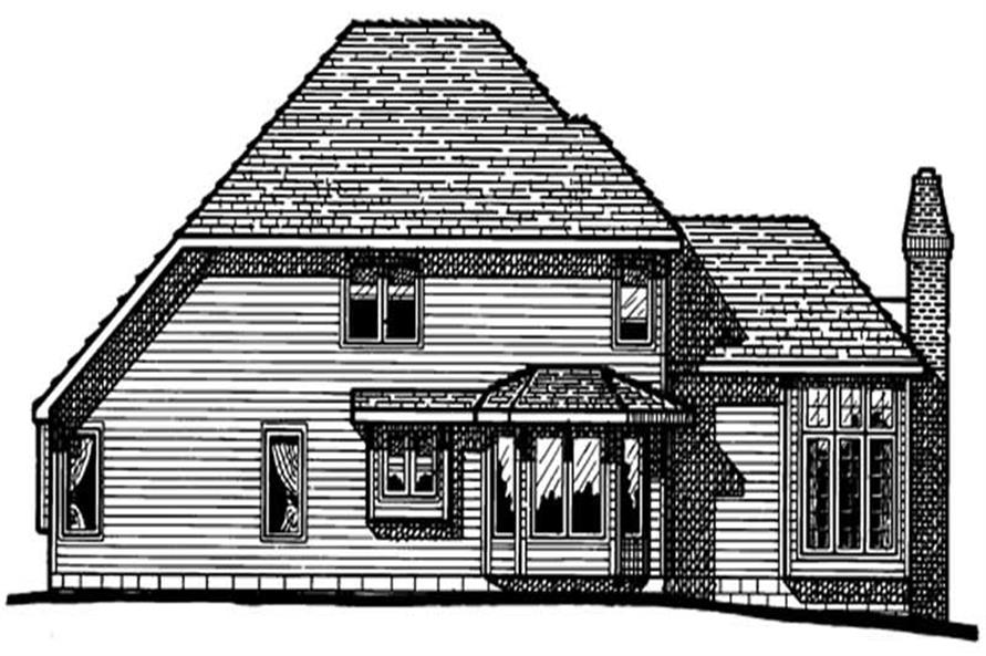Home Plan Rear Elevation of this 4-Bedroom,2276 Sq Ft Plan -120-1133