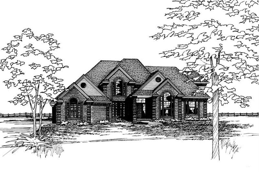 Front Elevation of this 4-Bedroom,3448 Sq Ft Plan -3448