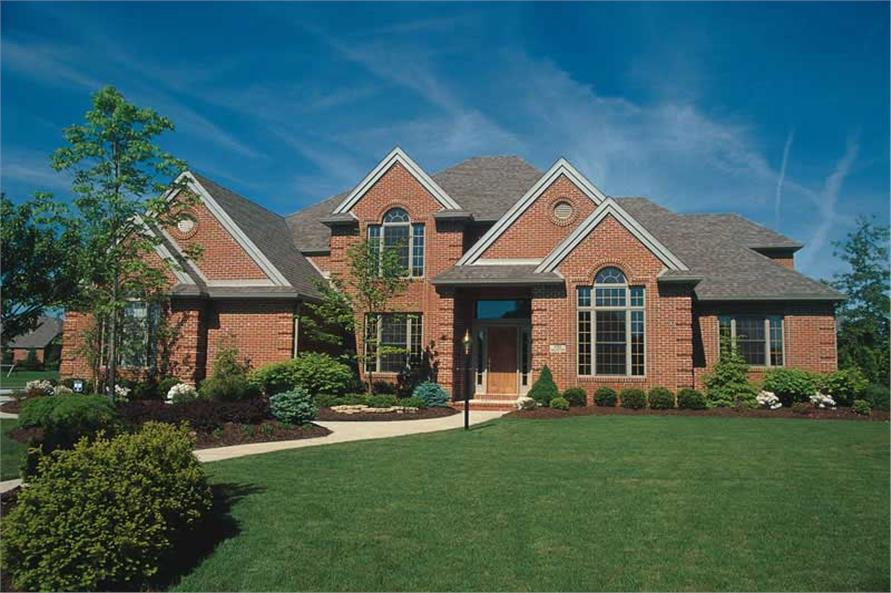 4-Bedroom, 3448 Sq Ft European House Plan - 120-1141 - Front Exterior