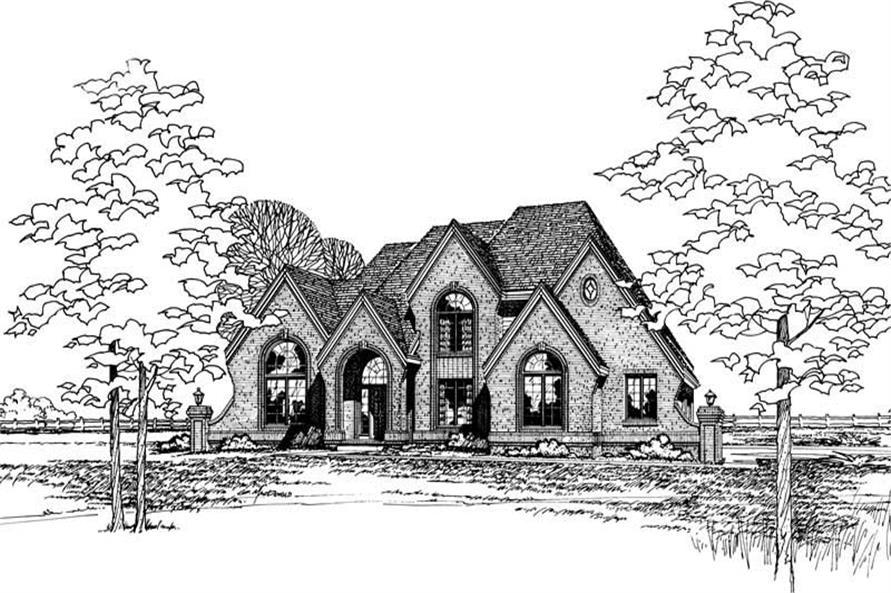 4-Bedroom, 3306 Sq Ft European House Plan - 120-1143 - Front Exterior