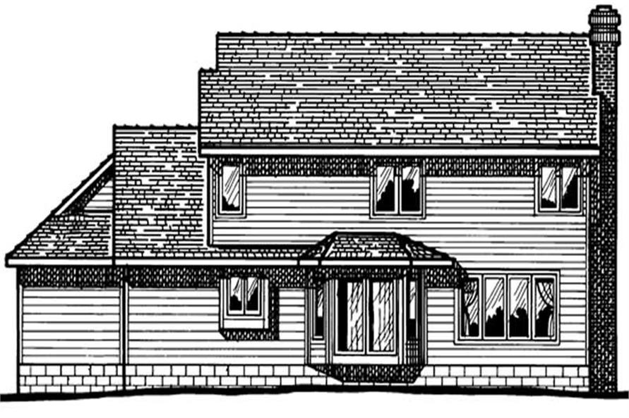 Home Plan Rear Elevation of this 4-Bedroom,2387 Sq Ft Plan -120-1147