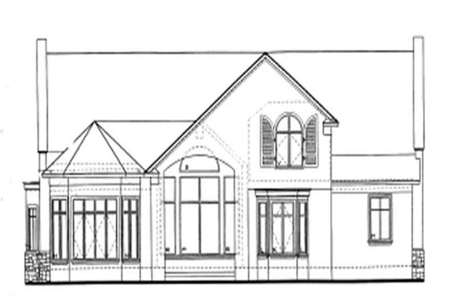Home Plan Rear Elevation of this 4-Bedroom,2624 Sq Ft Plan -120-1163